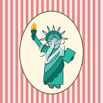 Royalty Free Clipart Image of the Statue of Liberty