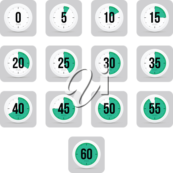 Set of simple timers. Set of thirteen elements.
