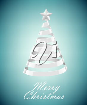 Abstract Silver Ribbon Christmas Tree On Blue Background. Abstract Silver New Year Tree On blue Background