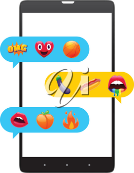 Mobile Messages with Fantastic Smile Emoticons, Emoji Design Set. Bright Icons of Lips. Fire, OMG Expression, Peach, Hot Dog. Stickers and Patches