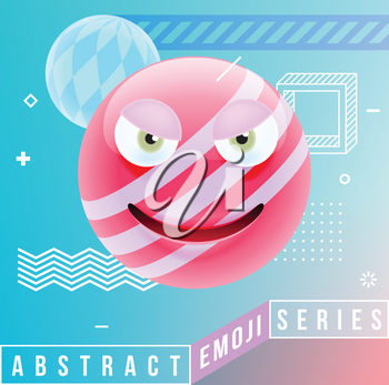 Abstract Cute Angry Emoji. Abstract Emoji Series. Pink Crazy Angry Emoticon Face in Memphis Style on Blue Background