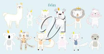 Llama, Lion, Tiger, Wolf, Panda, Cat, Bunny, Pig, and Fox Characters Staying Together in Crowns. Two Animals in Cute Trendy Modern Cartoon Outline Childish Style. Perfect for Print, Web, App or Any Design