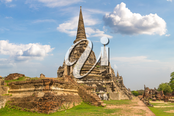 Ayutthaya Historical Park in Ayutthaya, Thailand in a summer day
