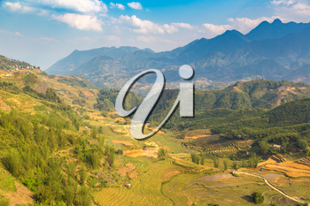 Panoramic view of Terraced rice field in Sapa, Lao Cai, Vietnam in a summer day