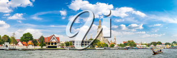 Panorama of Wat Arun Temple in Bangkok, Thailand in a summer day