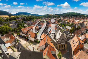 Panoramic aerial view of Goslar in a beautiful summer day, Germany