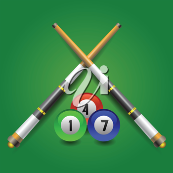 colorful illustration with billiard icon on a green background for your design
