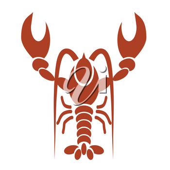 illustration with silhouette of red lobster on a white  background