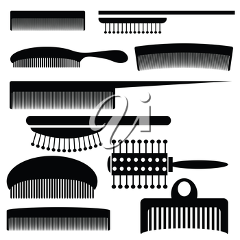 illustration with silhouettes of combs on a white background for your design
