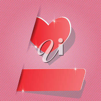 colorful illustration with paper heart for your design