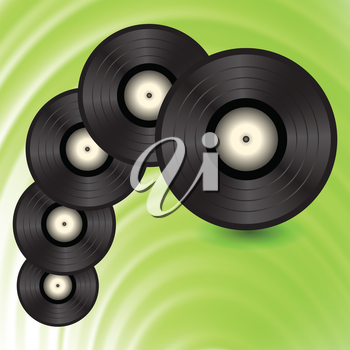 colorful illustration with vinyll records on a green wave background for your design