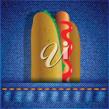 colorful illustration with hot dog on a blue cotton background for your design