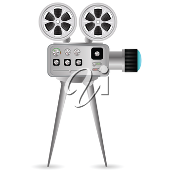 colorful illustration with Movie projector  on a white background
