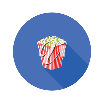 colorful illustration with popcorn flat icon on a white background