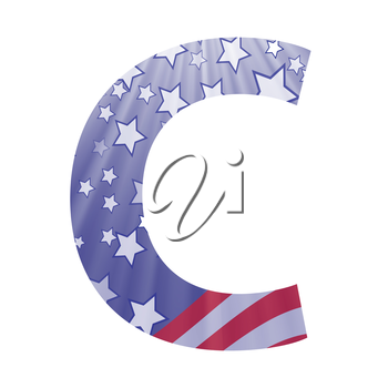 colorful illustration with  american flag letter C on a white background