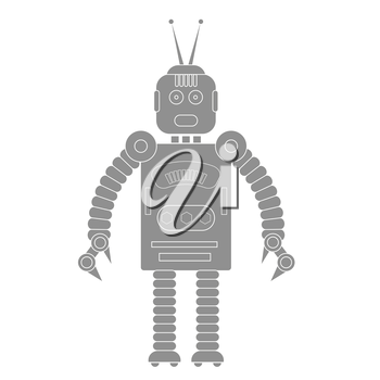 illustration with robot icon  on a white background