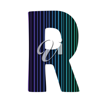 colorful illustration  with  neon letter R  on white background