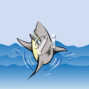 colorful illustration  with  shark on water background