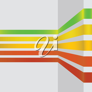 colorful illustration  with abstract line design banners on grey background