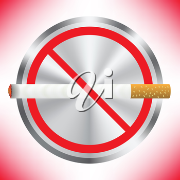 Prohibition sign on red background. No smoking sign. Sign showing no smoking is allowed. No smoking mark. Smoking prohibited symbol isolated on red background.