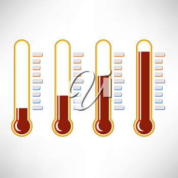 Set of Thermometer Icons Isolated on White Background