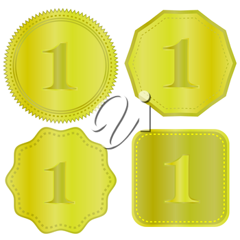Gold Medal Icons Isolated on White Background