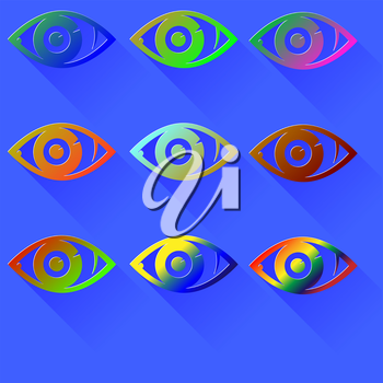 Set of Colored Eye Icons Isolated on Blue Background