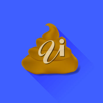 Excrement Icon Isolated on Blue Background. Long Shadow