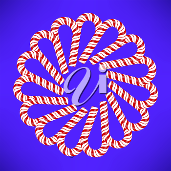 Striped Candy Ornament Isolated on Blue Background