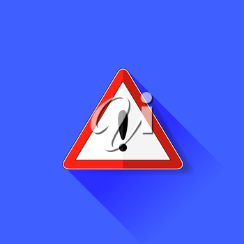 Exclamation Danger Sign Isolated on Blue Background. Long Shadow