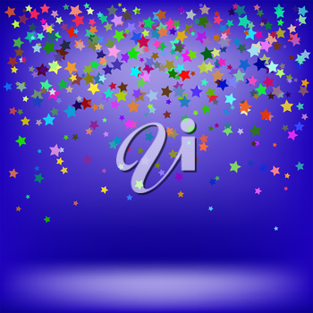 Set of Colorful Stars on Soft Blue Background. Starry Pattern
