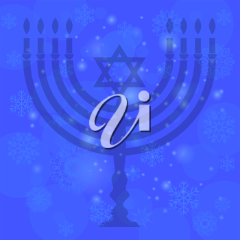 Silhouette of Menorah Isolated on Blue Sky Background. Snow Flake Pattern. Symbol of Hanukkah