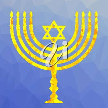 Yellow Mosaic Menorah Isolated on Blue Polygonal Background