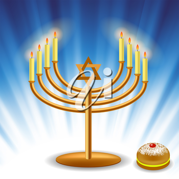 Menorah and Red Jelly Donat for Hanukkah on Blue Wave Background