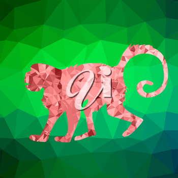 Red Mosaic Monkey Isolated on Green Polygonal Background. Symbol of Chinese New Year