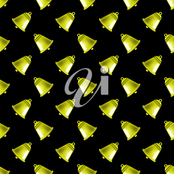 Retro Yellow School Bell Seamless Pattern on Black Background.