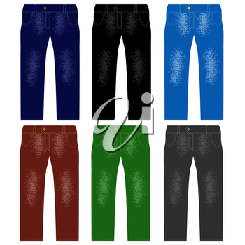 Set of Colored Jeans Isolated on White Background. Fashionable Modern Denim