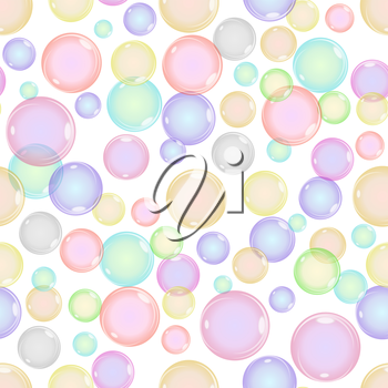Seamless Colorful Bubbles Pattern on White Background