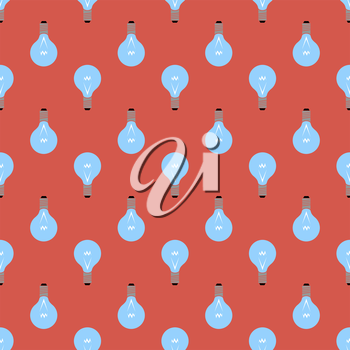 Electric Lamp Seamless Pattern on Red Background