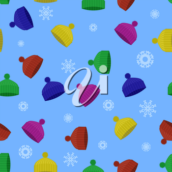 Colorful Winter Knitted Hat Seamless Pattern with Snowflakes on Blue Background