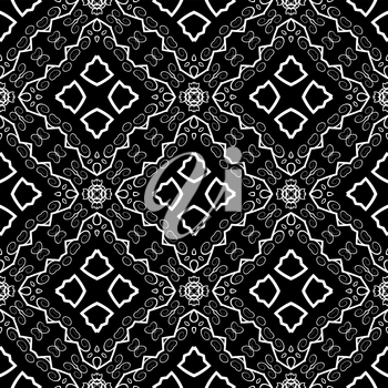 Seamless Texture on Black. Element for Design. Ornamental Backdrop. Pattern Fill. Ornate Floral Decor for Wallpaper. Traditional Decor on Background