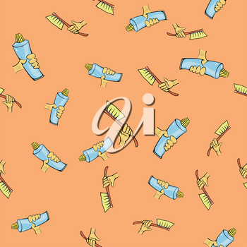 Toothbrush and Toothpaste Seamless Pattern on Orange Background