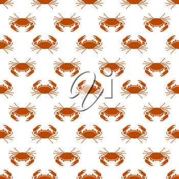 Boiled Sea Red Crab with Giant Claws Seamless Pattern on White Background. Fresh Seafood Icon. Delicous Appetizer.