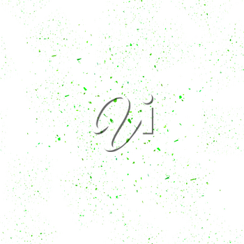 Green Confetti Seamless Pattern Isolated on White Background. Set of Particles.