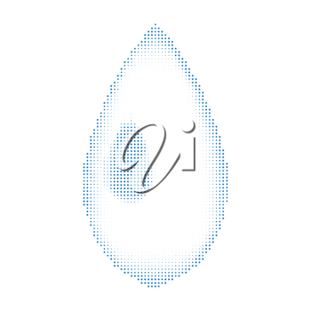 Blue Halftone Water Drop Icon on White Background. Natural Dotted Raindrop Design.