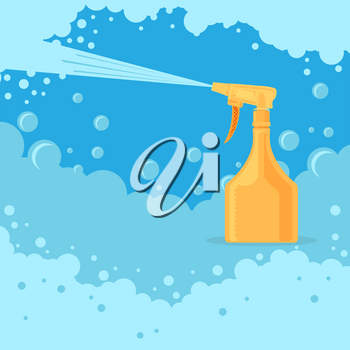 Medical Orange Sanitizer Symbol. Liquid Soap with Pumping from Bottle for Disinfection. Plastic Dispenser. Cleanser for Hygiene with Foam. Sprayer Icon. Flat Design.