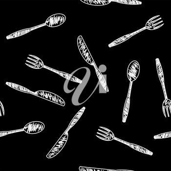 Food Seamless Pattern for Cafe. Fork Spoon Knife Logo Design Isolated on Black Background.