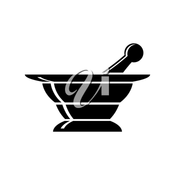 Mortar Icon Silhouette Isolated on White Background.