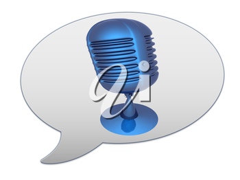 messenger window icon and blue metal microphone