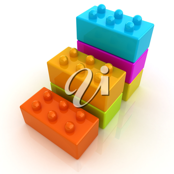 Building blocks efficiency concept on white